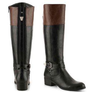 Unisa | Torrina Black/Brown Knee High Riding Boots